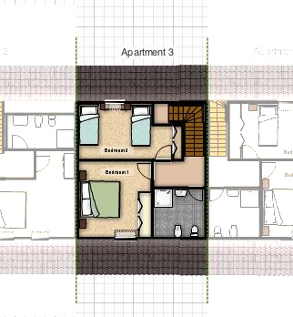 floorplan apartment for 4 bled