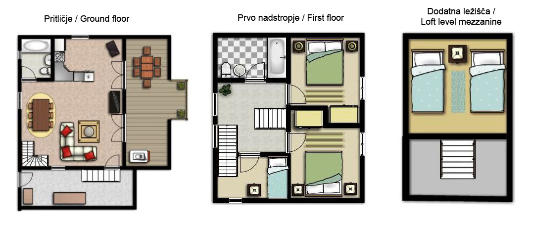 holiday house floorplan chalet bohinj slovenia