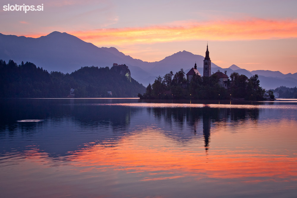 lake bled slovenia sunrise
