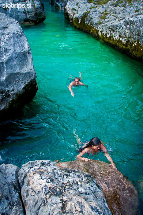 swimming in the soca river slovenia