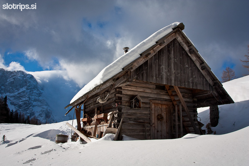 alps jezersko slovenia lonely cottage