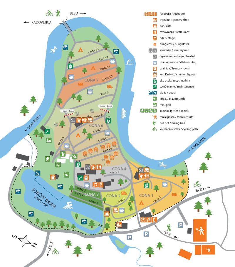 kamp sobec bled slovenija zemljevid