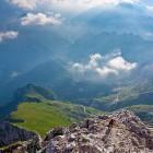 23-Slovene route on Mangart - view towards Koritnica valley and Mangart saddle