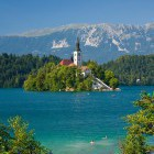 17-End the tour with a swim to the island on Lake Bled