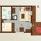 18-Pristava Lepena, Soba C (2 enoti, 27m2, 2+2 ležišč)